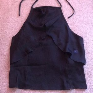 NEW WITH TAGS Black Halter Crop Top